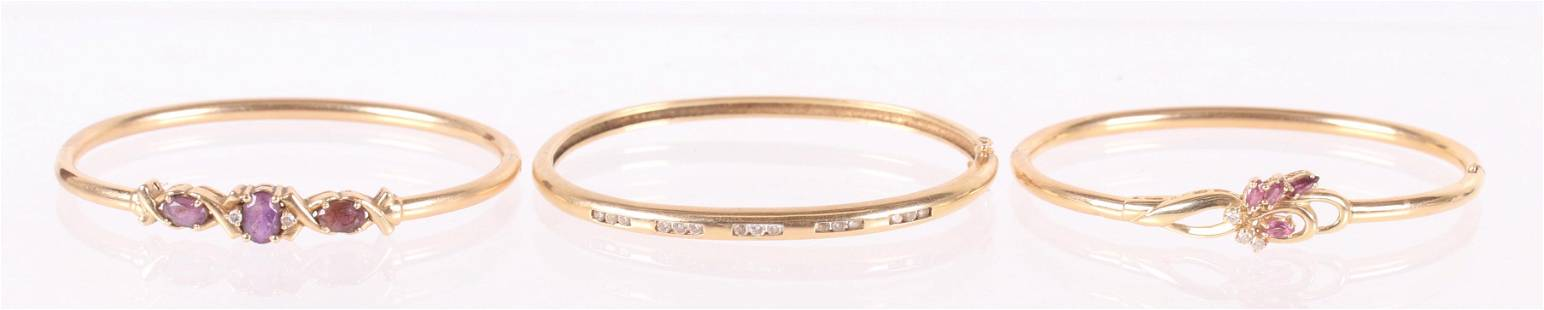 Three 14k Gold Bracelets