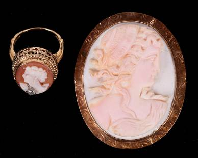 Two Pieces of Cameo Jewelry