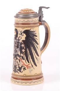 Mettlach # 2204 Imperial Eagle Beer Stein