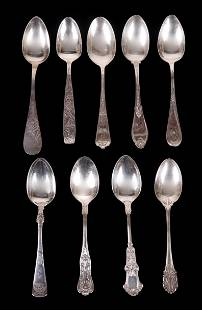 A Group of Nine Sterling Victorian Spoons