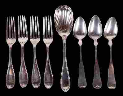 Eight Pieces of Coin Silver Flatware, Maine