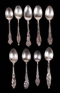A Group of Floral Pattern Sterling Spoons