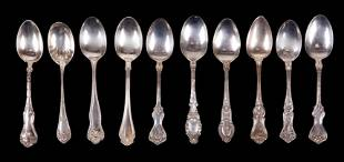 A Group of Sterling Silver Victorian Spoons