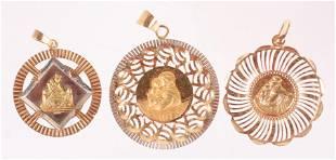 Three 18k Gold Pendants