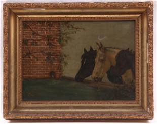 American School, Oil on Canvas, Horse Interest