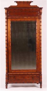 A Circa 1900 Pine Faux Bamboo Armoire