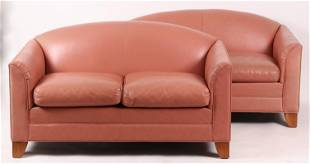 A Pair of Ethan Allen Leather Loveseats