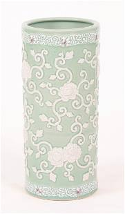 A Chinese Celadon Porcelain Umbrella Stand