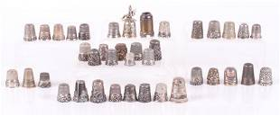 Thirty Eight Well Decorated Sterling Silver Thimbles