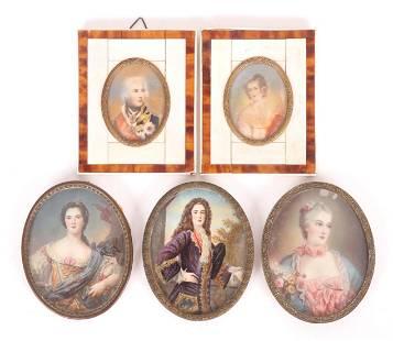 A Group of Portrait Miniatures