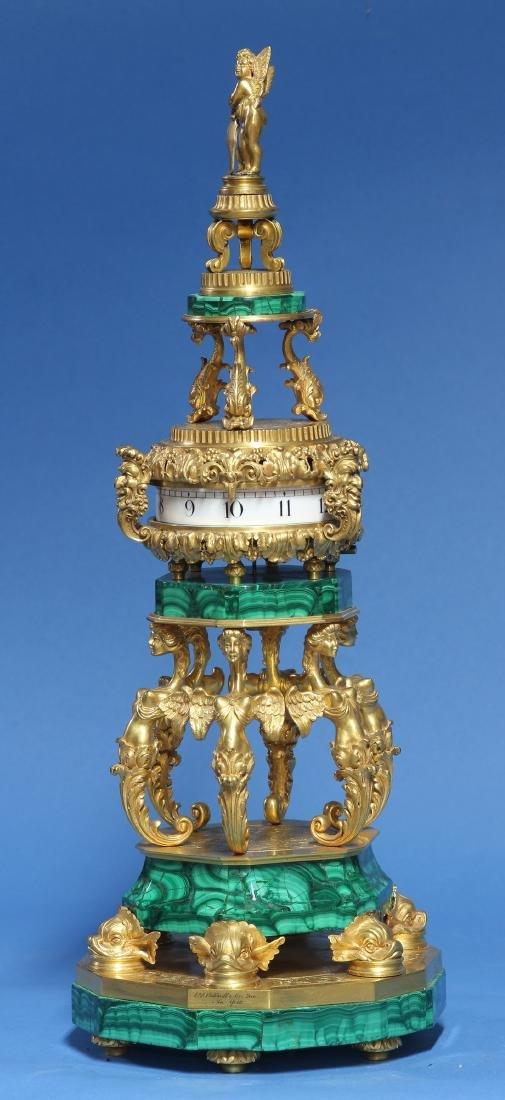 c.1913 American Gilt-Bronze and Malachite Annular Clock