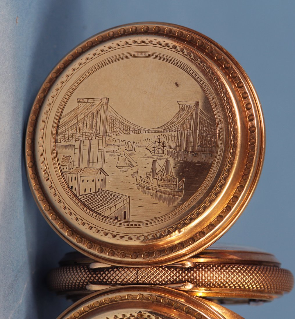 Rare Gold Pocket Watch Celebrating Brooklyn Bridge