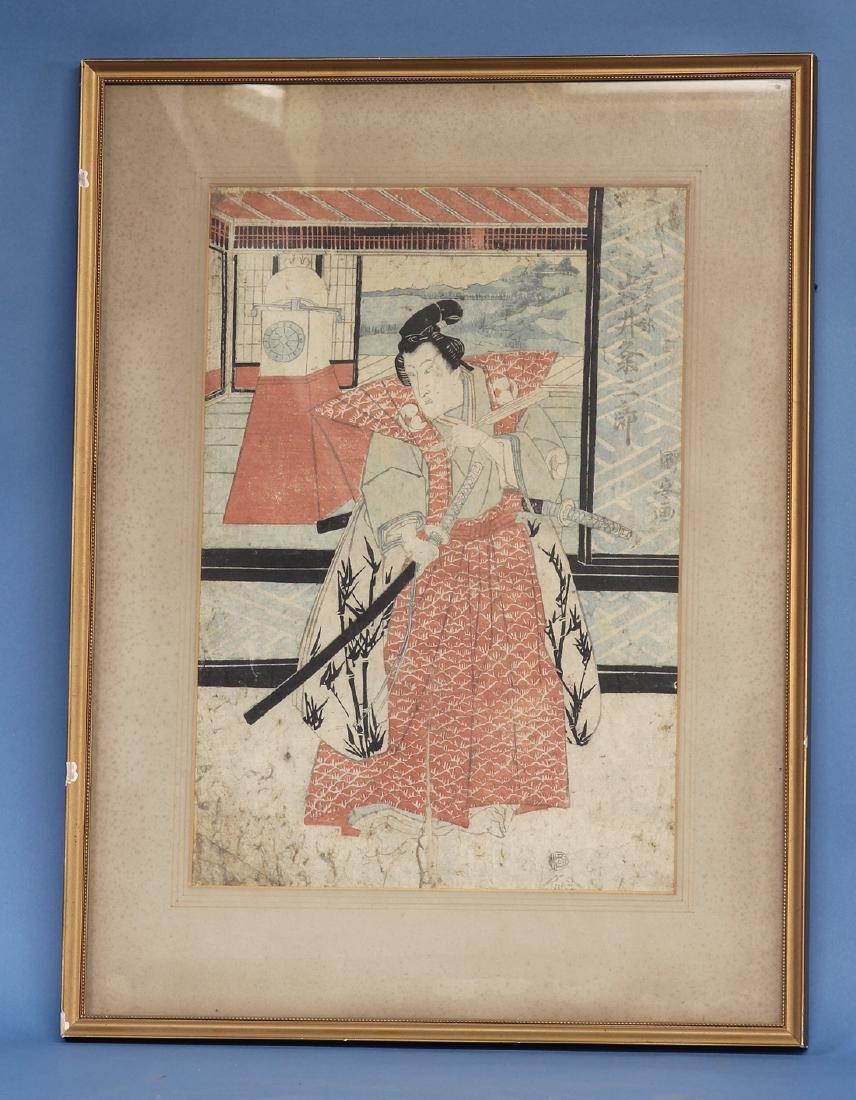 Colored Wood Block Print of Samurai and Clock.