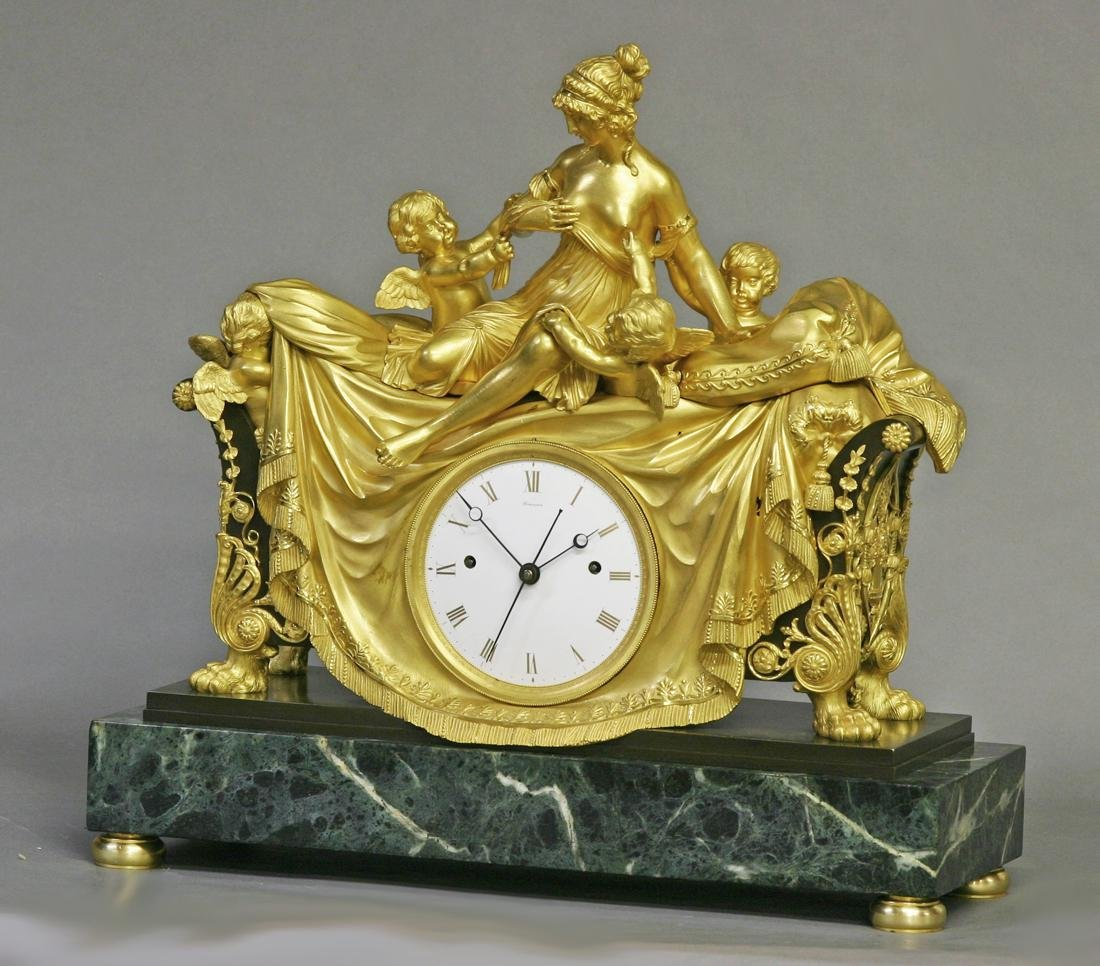 c.1812 Rare English Figural Mantle Clock. Semaine