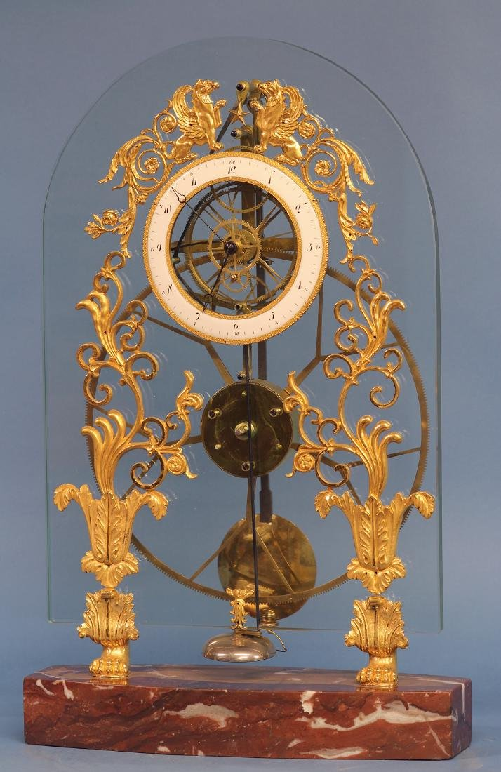 Rare Glass Plate Great Wheel Skeleton Clock.