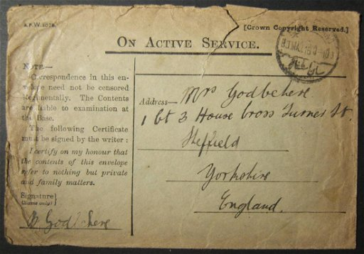 3/1916 WWI unfranked British army cv to UK via Egyptian - Apr 16