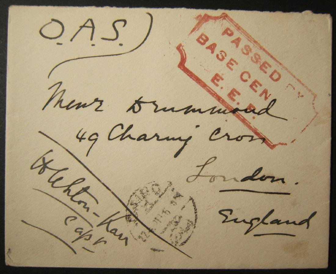 6/1918 WWI unfranked British military mail to UK via