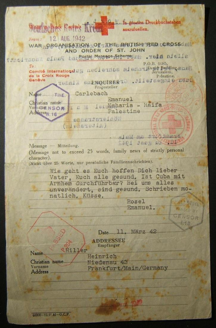 3/1942 2-way Holocaust Red Cross correspondence ex - Aug 08