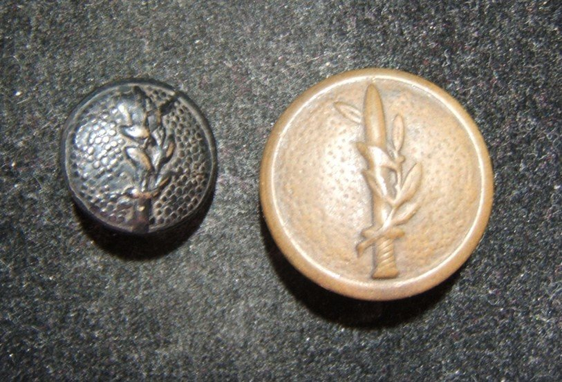 Two 2x old embossed uniform buttons of Israeli