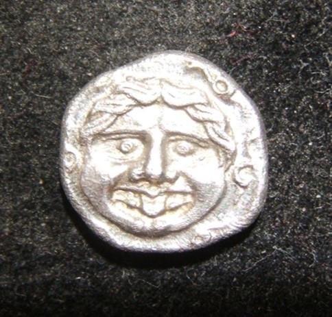Greek Parion Hemidrachm Gorgoneion head ancient coin,