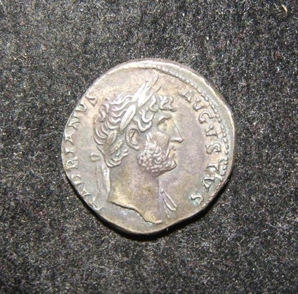 Roman Empire Hadrian ancient AR Denarius coin; RIC II