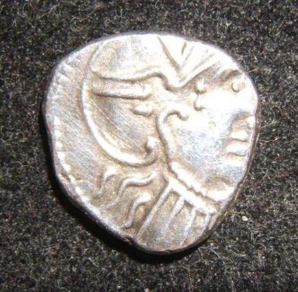 Ancient Celtic Gaul Rhone Valley AR Denarius coin Roma