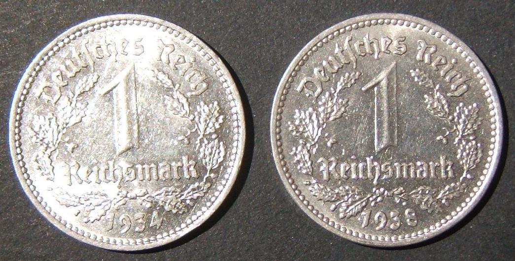 Nazi Germany 2x high-grade silver Reichsmarks coins