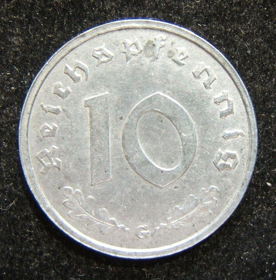 Germany 10pf 1946 G zinc Allied occupation issue coin,