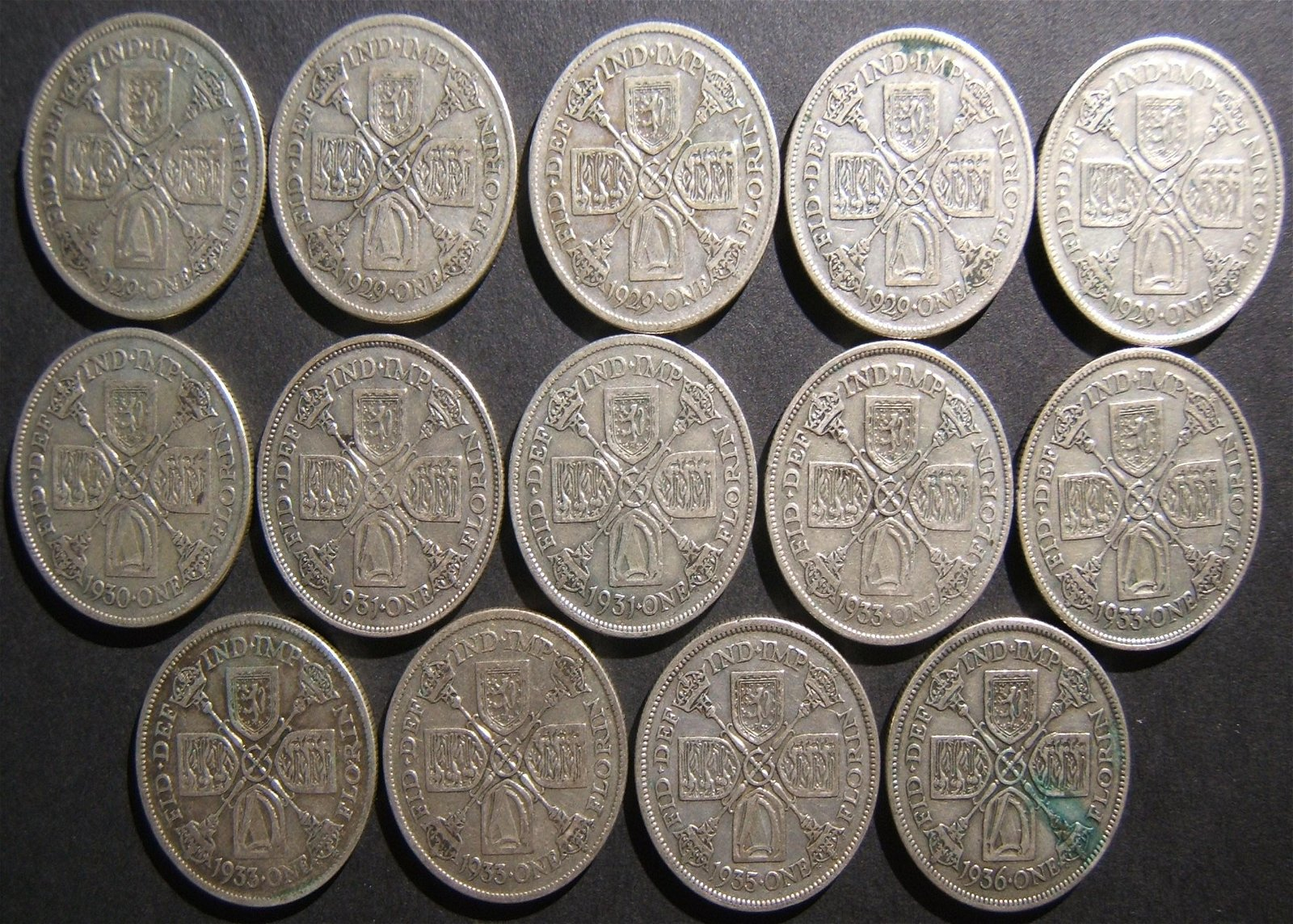 Great Britain 14x silver Florins (2 Shillings),