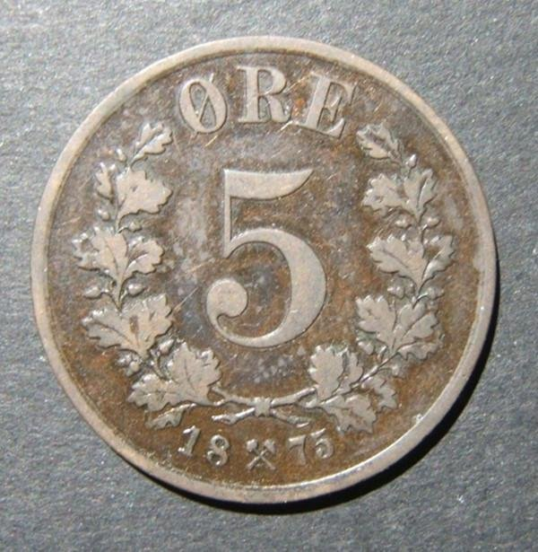 Norway/Norwegian 5 Ore 1875 key date bronze coin, F-VF
