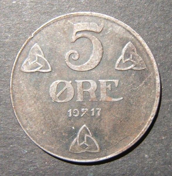 Norway/Norwegian World War I WWI issue 5 Ore 1917 iron