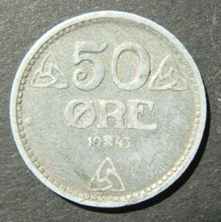 Norway/Norwegian WWII Quisling-German occupation 50 Ore