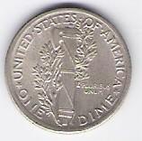 American silver Mercury Dime, 1916; high grade