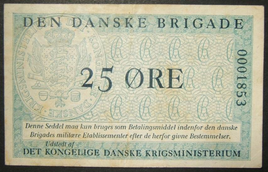 Danish Brigade in Germany 25 Ore currency banknote, low