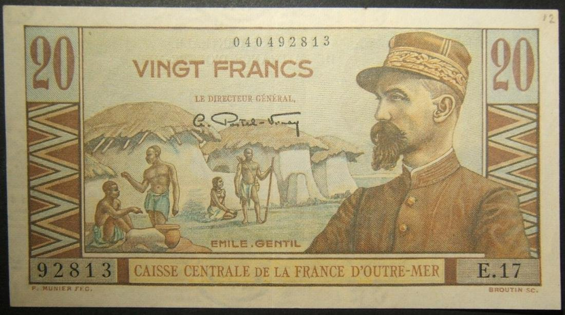 French Equatorial Africa 20 Francs currency banknote