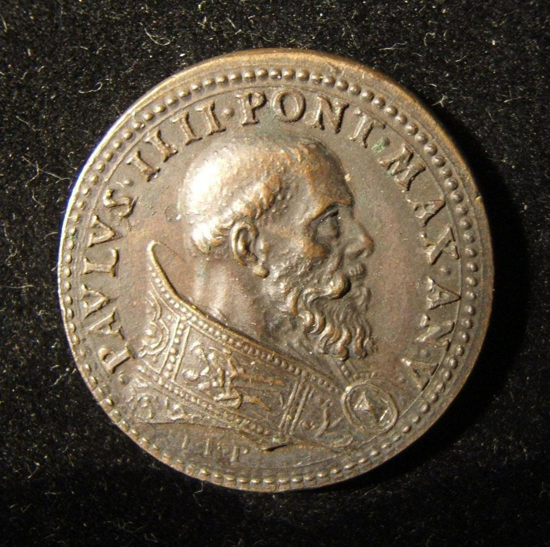 Pope Paul IV/Jesus-merchants struck bronze medal by