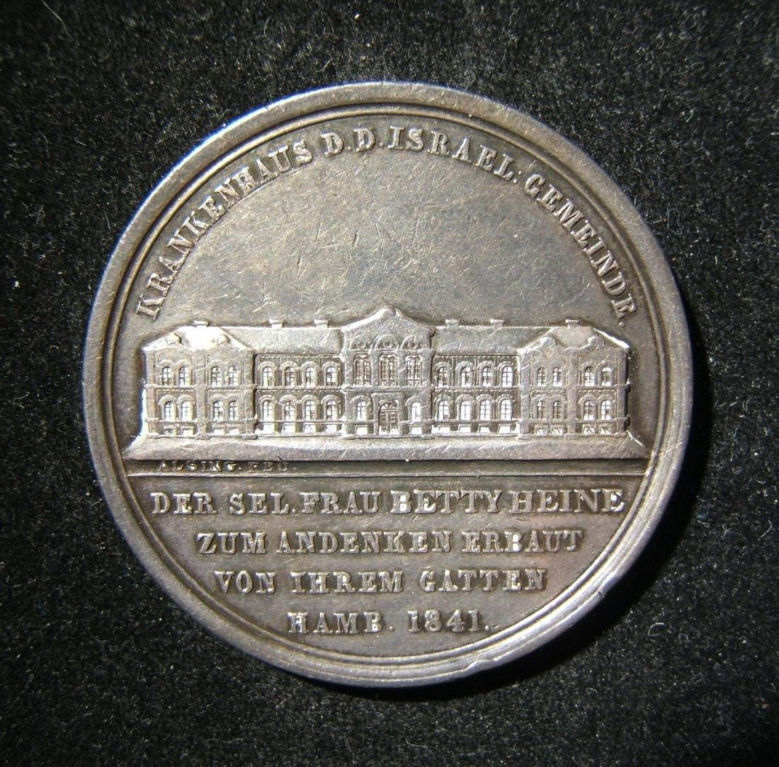 New Jewish Hospital Hamburg silver Judaica medal by