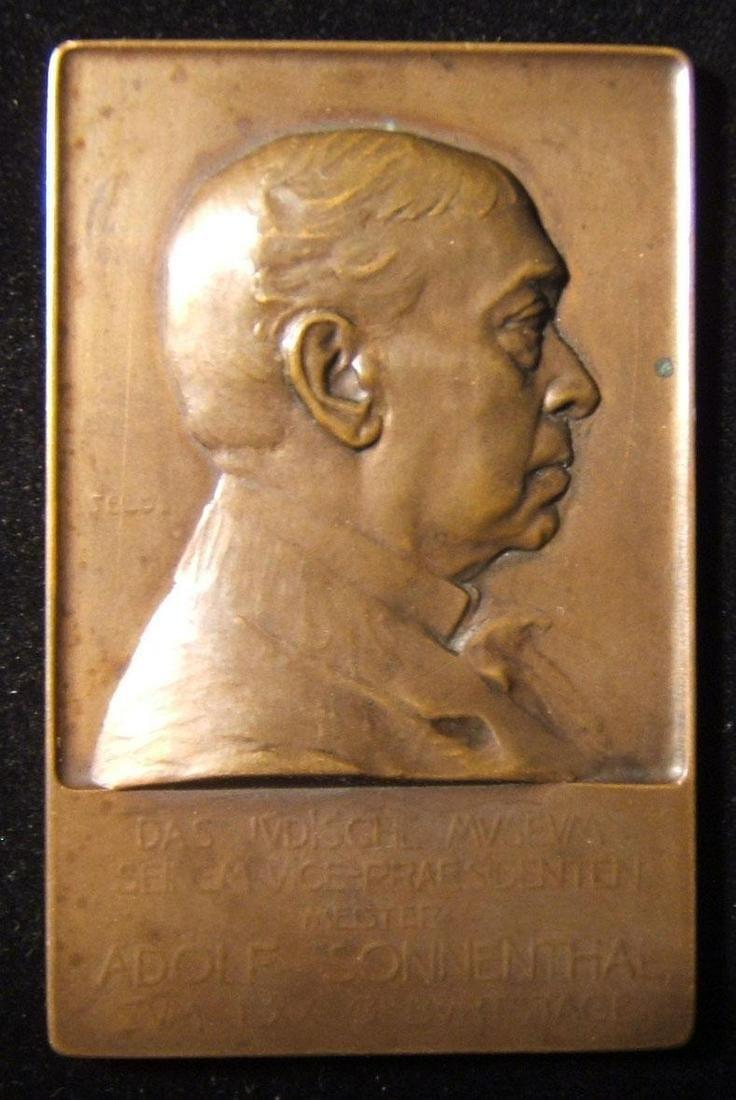 Austrian Adolf von Sonnenthal birthday Judaica plaque