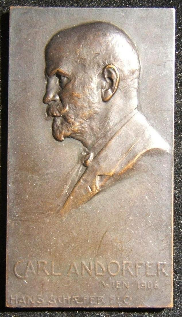 Austrian Carl Andorfer uniface Judaica bronze plaque by