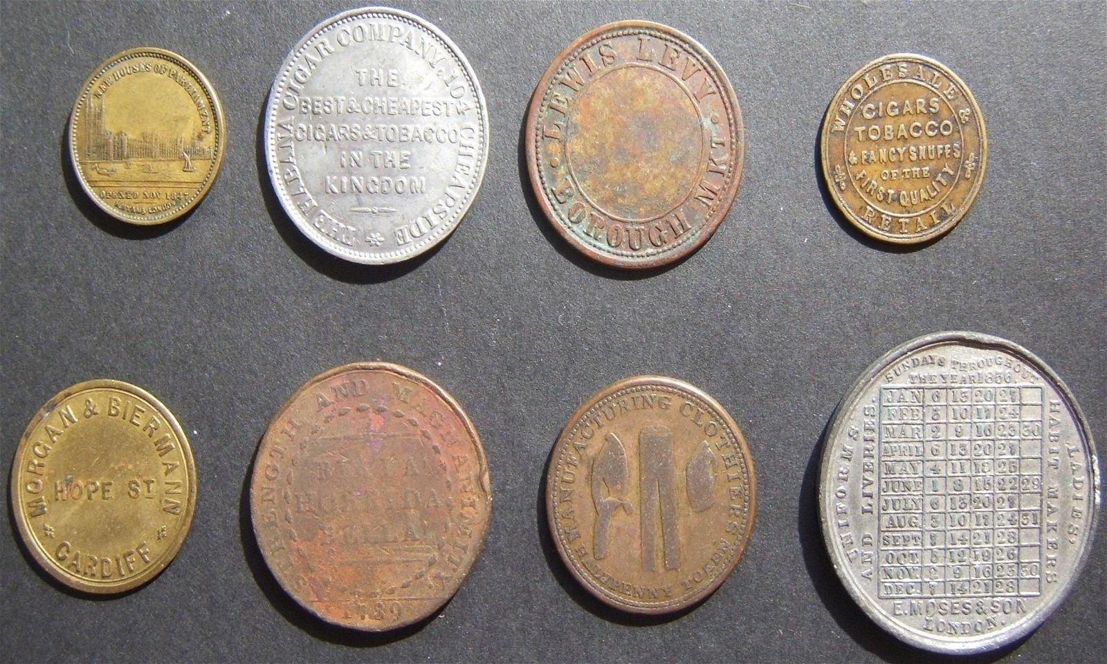 8x British Jewish business/merchant tokens, some