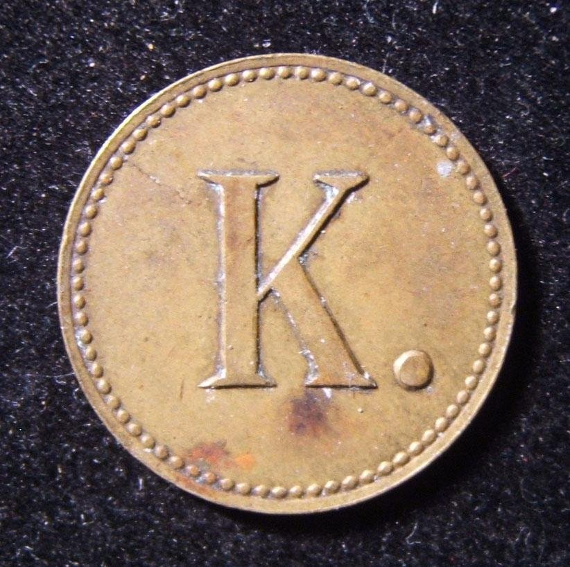 Romanian? undocumented bronze token with large letter K