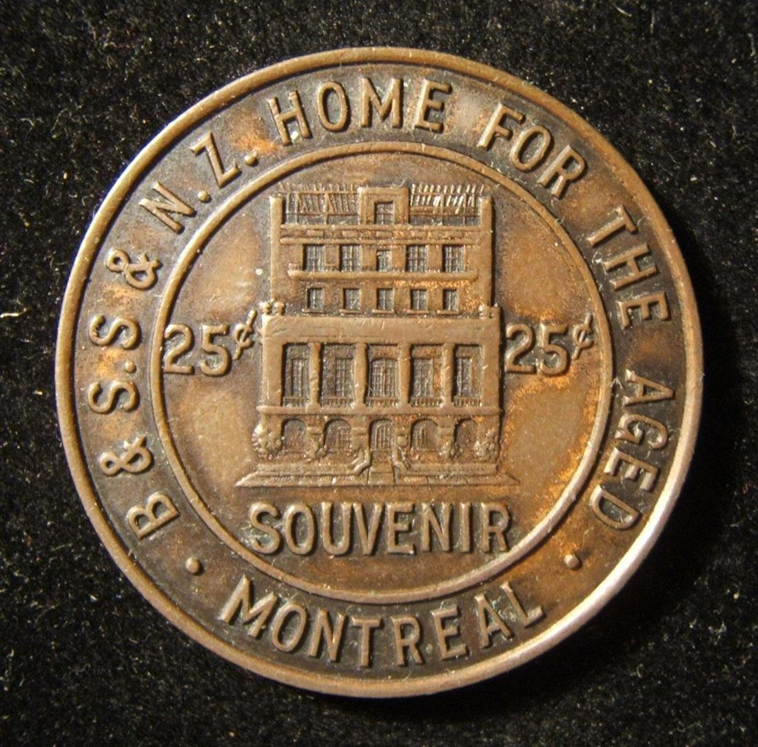 Canadian 25c donation Judaica token of Montreal Jewish