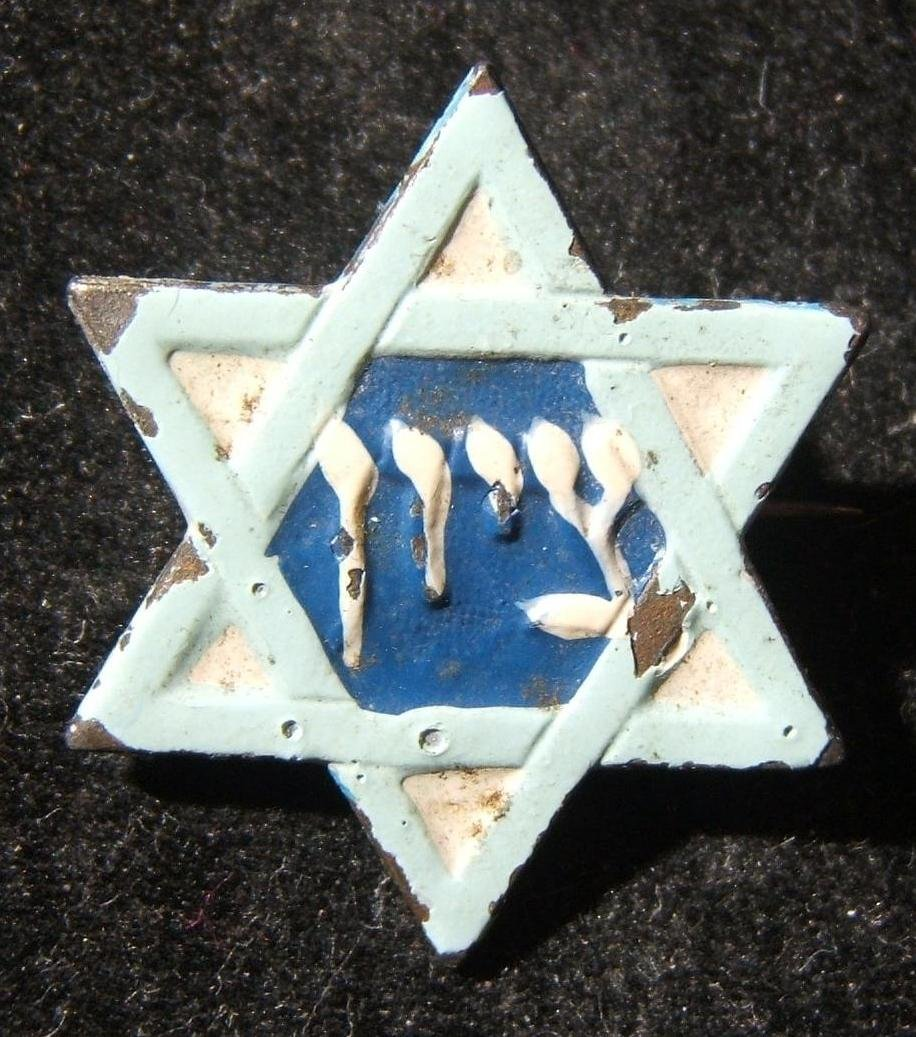 Palestine light blue on white metal Zionist pin with