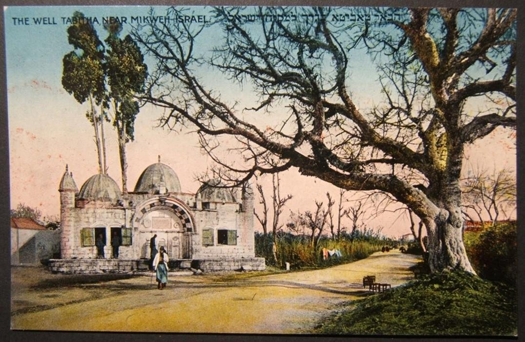 Vintage Eretz Israel postcard Well Tabitha Near Mikweh