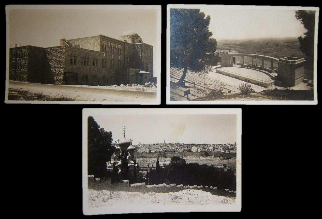 Lot 3x photo postcards Jerusalem Eretz Israel Mandate
