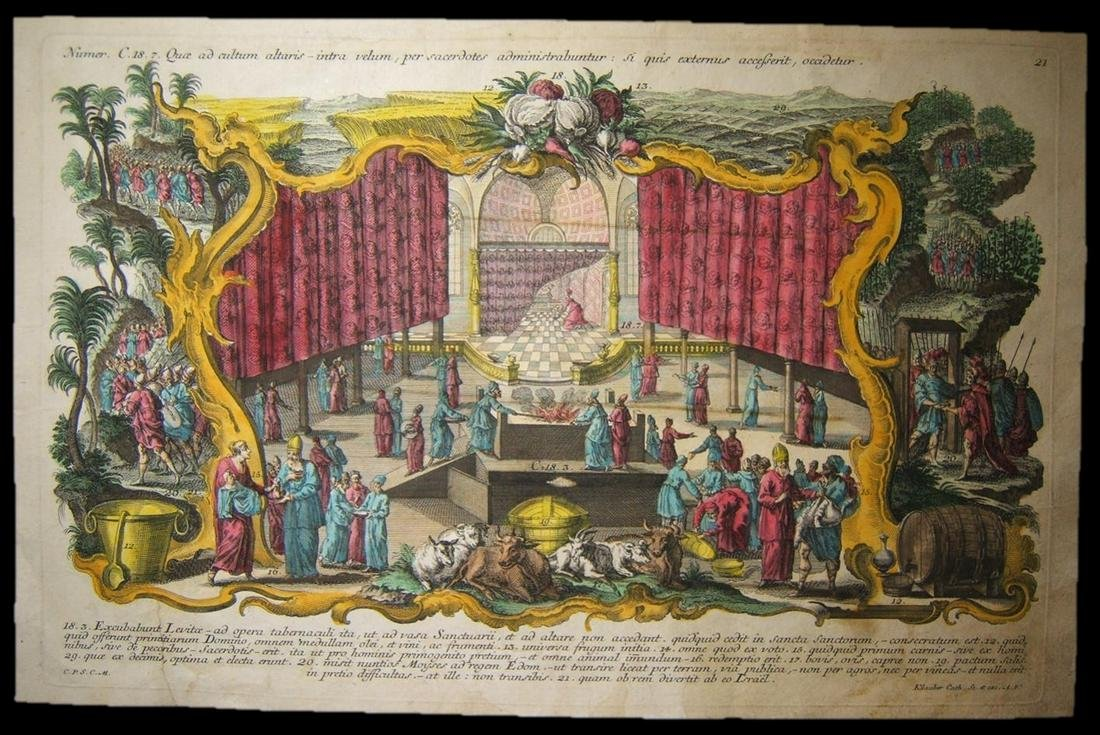 18th Cent. color copperplate engraving Levites in