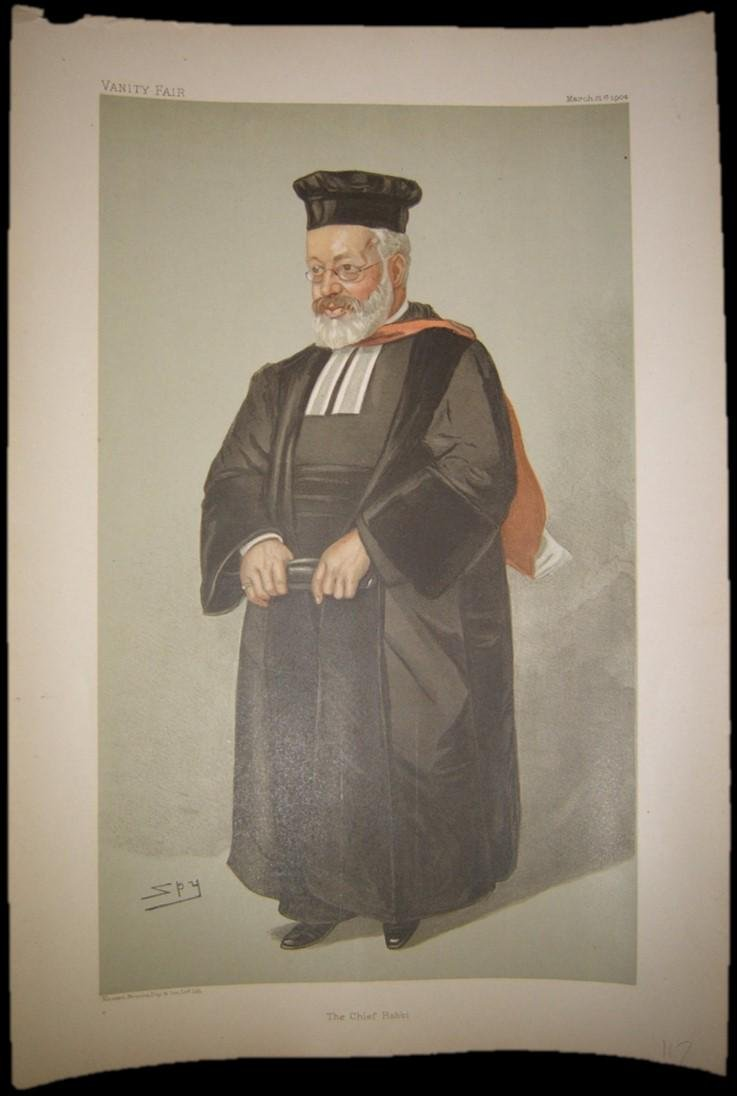 Vanity Fair color print of Chief Rabbi Hermann Adler