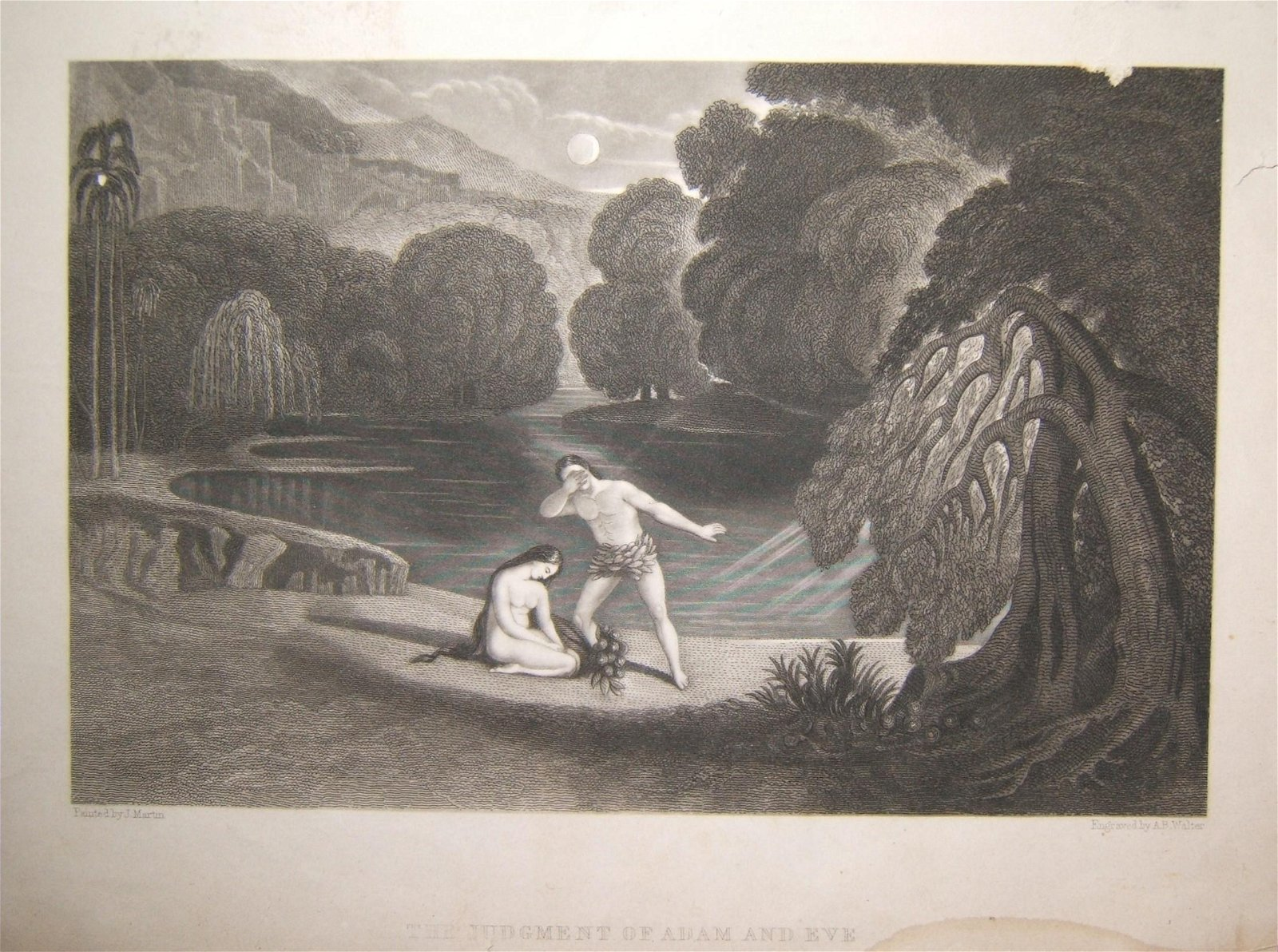 Biblical print The Judgment of Adam & Eve, J. Martin &