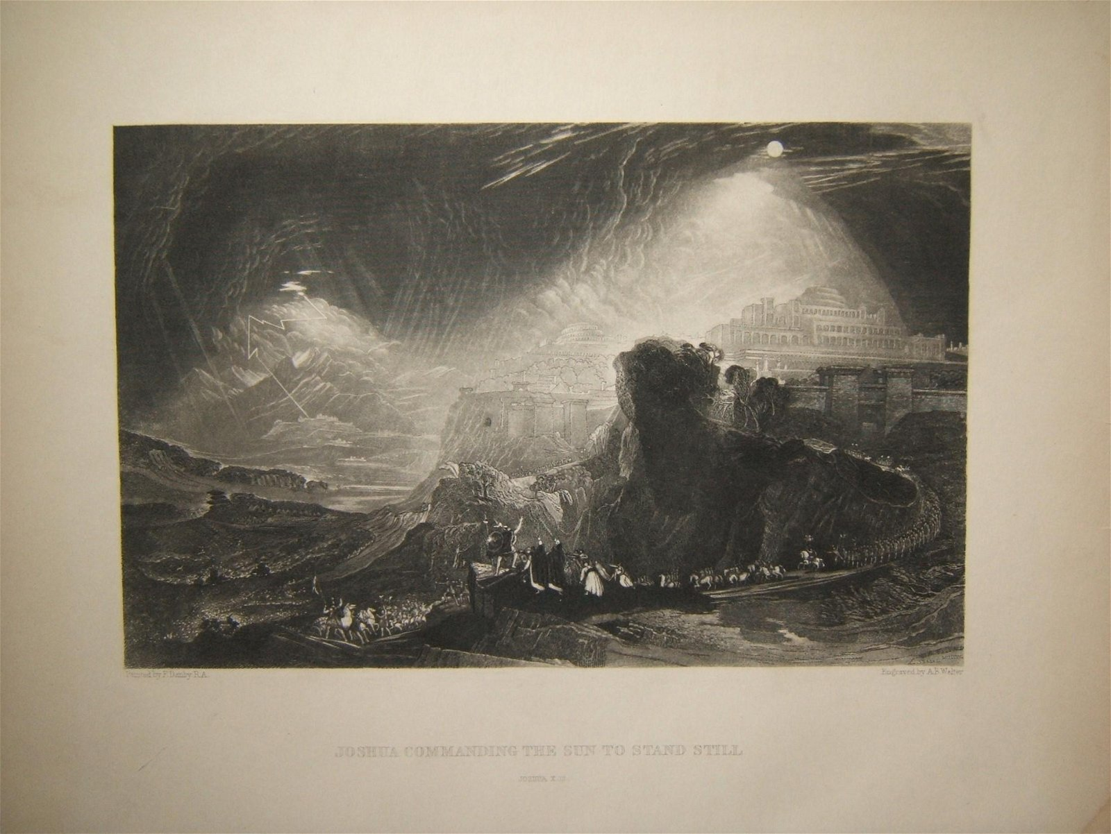 Biblical print Joshua Commanding Sun to Stand Still;