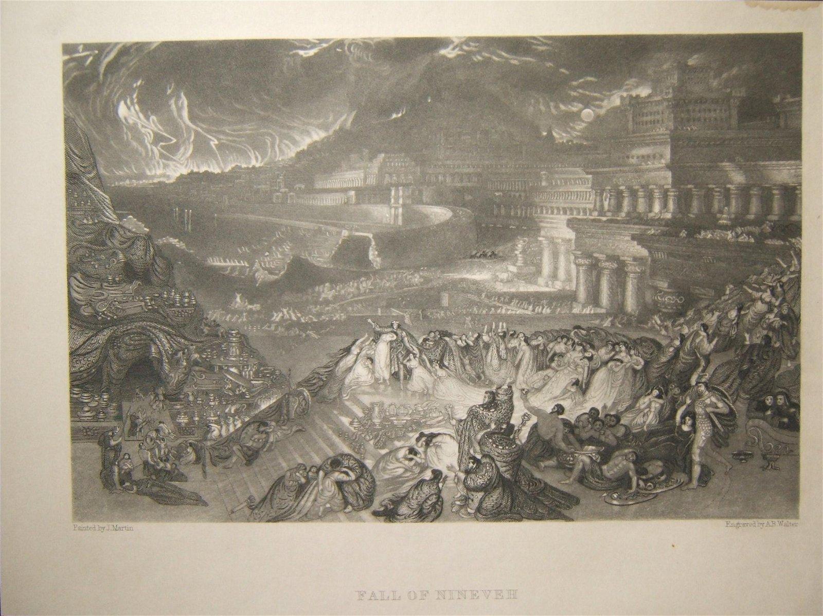 Biblical print Fall of Ninveh; J. Martin & A.B. Walter,